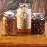 Canister Set Rooster Glass Country Farm Farmhouse Rustic Primitive