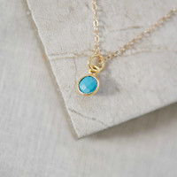 Dainty Gemstone Necklace in Turquoise