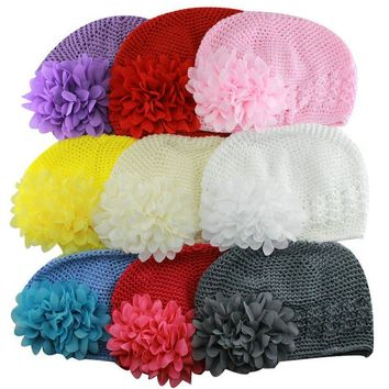 Artificial Fashionable Newborn Crochet Beanie Knitted Hats with Pretty Penoy Flowers Girls Photo Props Accessories