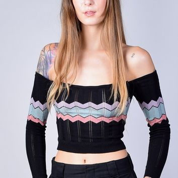 Lily Off Shoulder Fitted Zig Zag Sweater