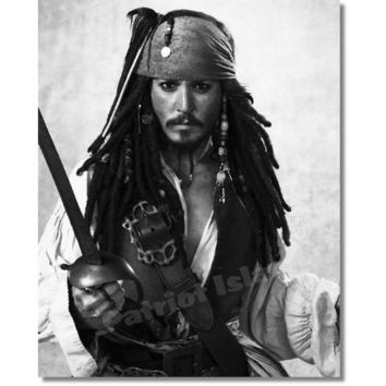 Jack Sparrow Johny Depp Pirates of the Caribbean Impressionist Black and White Celebrity Portrait 8x10 Monochrome