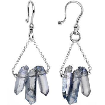 6 Gauge Handcrafted Electroplated Natural Quartz Crystal Ear Weights