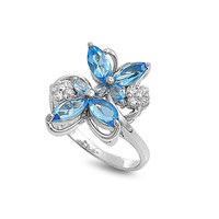 925 Sterling Silver CZ Butterfly Blues Ring 19MM