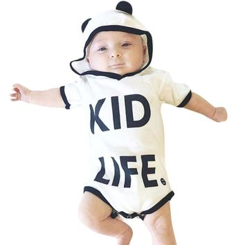 2017 New Newborn Kid Life Letter Print Rompers Baby Boy Girl Clothes Hoodies Short Sleeve Jumpsuit Letter Print Romper Outfit