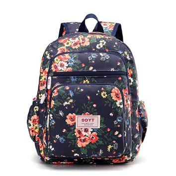 Floral Students Book Bags Little Flowers Backpack Shoulder Bag