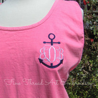 Anchor Monogram Tank Top Sleeveless Pigment Dyed Tee Tshirt Monogrammed Tank for Beach Gym Cover Up