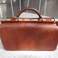 Large French briefcase vintage,1920 , vintage briefcase doctor,French leather briefcase