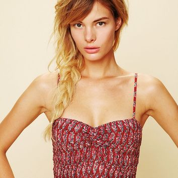 Free People FP ONE Smocked Printed Crop