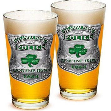 Pint Glasses – Police Officer Gifts for Men or Women – Law Enforcement Beer Glassware – Garda Irelands Finest Beer Glasses with Logo - Set of 2 (16 Oz)