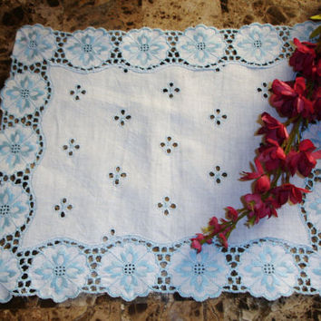 "Madeira Linen Centerpiece Doily, Doily, Blue and White, Embroidered, Oblong Doily, Small runner, 12x10"", Table Linens, Accent Linens"