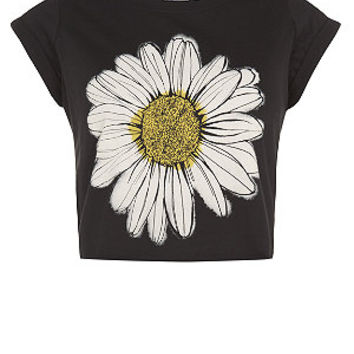 Teens Black Daisy Roll Sleeve Crop T-Shirt