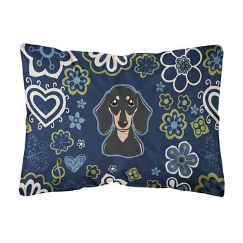 Blue Flowers Smooth Black and Tan Dachshund Canvas Fabric Decorative Pillow BB5066PW1216
