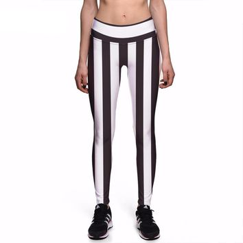 Stripes Vertical Black and White Leggings