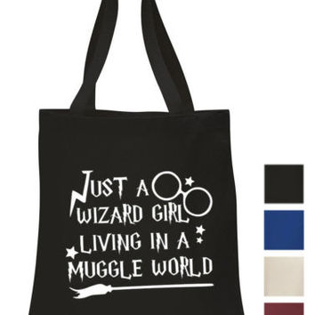 Just a Wizard Girl living in a Muggle world Cotton Tote ECO hogwarts canvas Bag | eBay