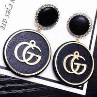 GUCCI contracted letter GG circle solid thick feeling earring female temperament individual character is 100 build
