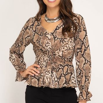 Long Sleeve Snake Skin Blouse with Front Tie - Taupe