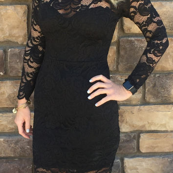 From the Heart Lace Dress: Black