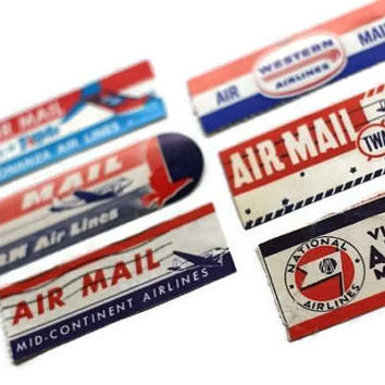 Vintage Via Air Mail Labels Airlines Eastern, Bonanza, Mid-Continent, Western, Lot of 6 - Altered Art Mixed Media