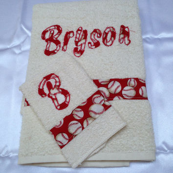 2 Piece Base Ball Towel Set With Applique Name, Towel Set, Home Decor, Bath Accessory, Towel Gift Set, Monagrammed Set, Embroidered Towels,