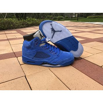 Air Jordan 5 V Blue Suede Men Basketball Shoes Black Game Royal Blue Raging Bulls Top Quality Sneakers Size 8-13 With Box