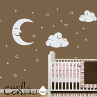 Nursery Moon Stars and Clouds Wall Decal Nursery by WallConsilia