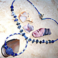 Sodalite Pearl Necklace Stone Necklace Throat Chakra Chakra Jewelry Beaded Fresh Water Pearls Direct Checkout
