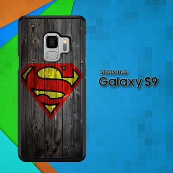 Wood Superman Logo 1215 F0249 Samsung Galaxy S9 Case
