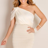Ivory White Charmingly Elegant Asymmetrical One Shoulder Sheer Bandage Cocktail Dress