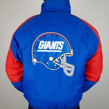 SALE L Vintage 90s Giants NFL GameDay Jacket / Heavy Winter Nfl Jacket / Ny Giants Puffer Jacket / Men's Sports Coat / Vintage Football Jack