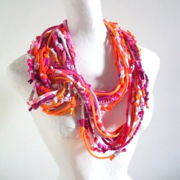 Vivacious Pink Koi Orange Infinity Scarf Necklace Pantone Fall Fashion Colors Upcycled Raspberry Tangerine Multicolor Knotty Bits Art Scarf