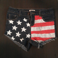 Hand painted American flag shorts