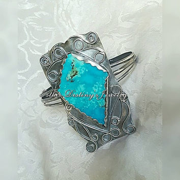 Kingsman Turquoise Fine/Sterling Silver Filigree Design Statement Cuff Bracelet, Boho, Hippie, Gypsy,