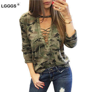 Fashion Lace Bandage Camouflage T-shirts For Women Sexy Long Sleeves Clothes Hollow Out Army Green Shirts Tops Tees