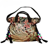 Tribal Embroidery Flower Peafowl Purse Handbag Shoulder Bag