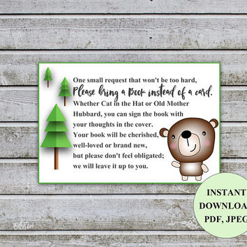 Baby Shower Bring a Book Instead of a Card Book Request Baby Library Printable Bear Baby Shower Invitation Insert Card (b1) Instant Download