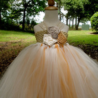 Gold rustic champagne flower girl tutu dress