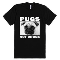 pugs not drugs blk/wht-Unisex Black T-Shirt