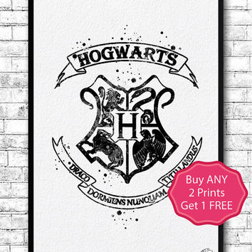 Hogwarts Crest 2 Watercolor Print Harry Potter Fine Art Print Nursery Gift Home Decor Wizard Nursery Kids Room Black Hogwarts Crest Poster