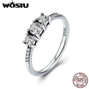 WOSTU Real 100% 925 Sterling Silver Fairytale Sparkling Ring, Clear CZ Finger Ring for Women Wedding Engagement Jewelry XCH7645