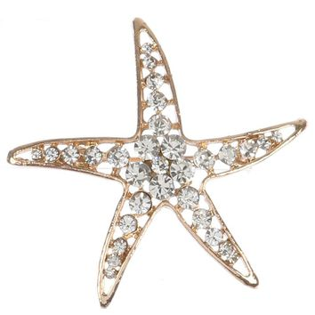 Clear Pave Crystal Stone Starfish Metal Pin And Brooch