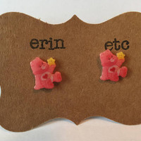 Handmade Plastic Fandom Earrings - Carebears - Love a lot Bear