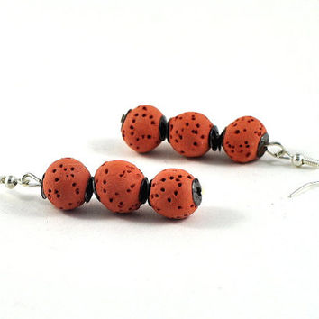 Halloween Terracotta Beaded Earrings Ceramic Jewelry Organic Orange Brown with Silver Accents Gift for Her