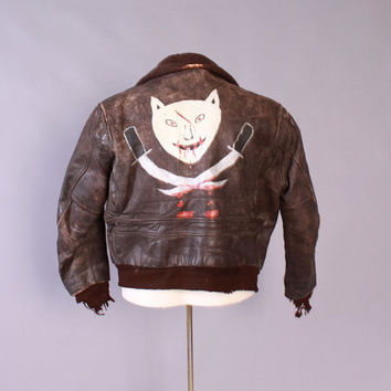 Vintage 50s HORSEHIDE Leather JACKET / 1950s Hand Painted Military Flight Bomber Brown Jacket L