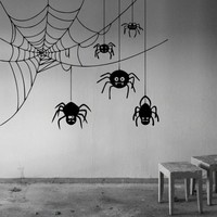 wall decal crawling spider cobweb halloween vinyl sticker home interior design art wall murals bedroom decor
