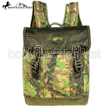 Montana West Camo Stone Washed Canvas Travel Bag Collection Backpack