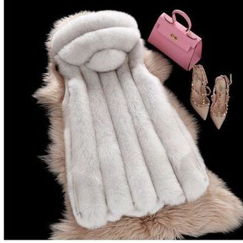 2016 Spring new women hooded fur coat silver fox imitation fur vest plus size ladies fox fur coat