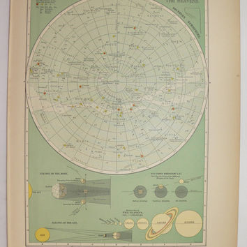 Old Celestial Print, Vintage Space Print 1899 Antique Star Map, Zodiac Art, Solar System Print, Constellations Astronomy, Geekery Space Gift