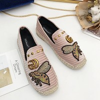 GUCCI Trending Stylish Women Leisure Bee Shoes Espadrilles Flat Single Shoe Pink