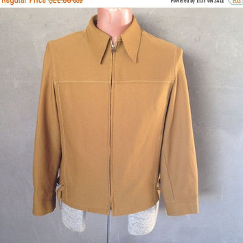 HALF OFF Vintage 1970s Mens Mustard Brown Doubleknit Ribbed Western Jacket M/L (c)