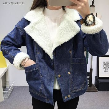 Trendy Winter Warm Lambswool Jeans Jacket Women 2018 Fashion Double-Breasted Blue Thicken Fur Denim Coat Warm Lining Outwear Female AT_94_13